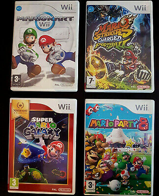 Lot 4 jeu Nintendo Wii : Super Mario Galaxy Kart Party 8 Strikers Football