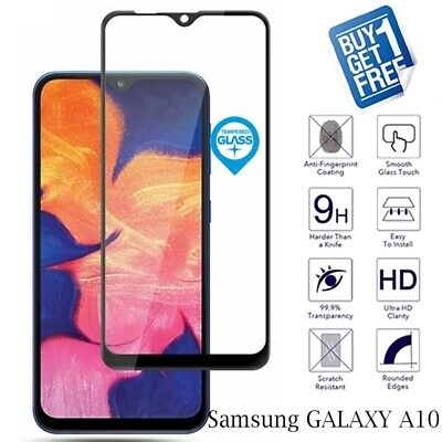 2 x For Samsung Galaxy A10 Tempered Glass Screen Protector Full 3D Curved Black