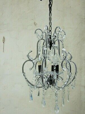 Vintage Small 3 globe Crystal  Bohemian Chandelier  Ceiling Light Fitting  VGC