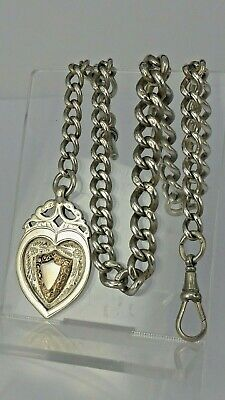 1911 Chester Solid silver pocket watch chain graduated links & heart shaped fob
