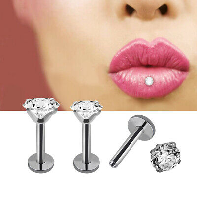 Sparkle Crystal CZ 316L Labret Stud Lip Bars Monroe Tragus Helix Cartilage Bar