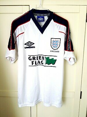 England Training Shirt 90s. Small Adults. Umbro White Short Sleeves Football Top