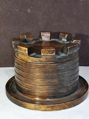 Antique  Wooden Inkwell  in the form of a Turret with Cup