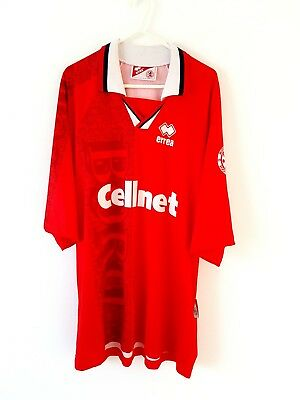 Middlesbrough Home Shirt 1996. XL. Errea. Red Adults Short Sleeves Football Top.