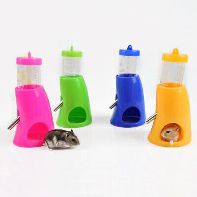 2 in 1 Hamster Water Bottle Holder Dispenser With Base Hut Small Animal Nest