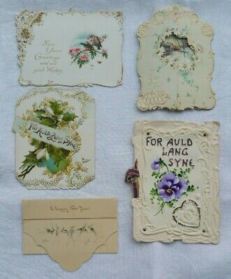 Antique New Years Cards Used Embossed