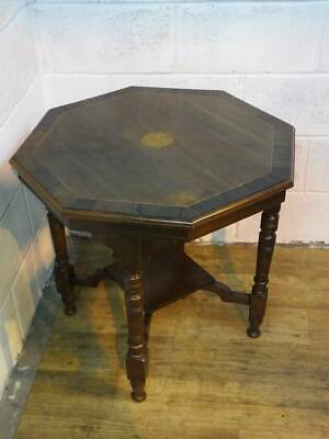 Edwardian Octagonal Mahogany Occasional Table,  Inlayed Shell Design.