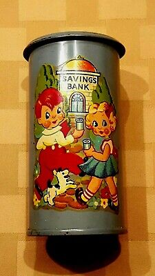 Vintage Tin Cylinder-Shaped Coin Bank with 'Savings Bank' Decal
