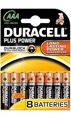 Duracell Batterie Alcaline AAA Mini Stilo Conf 8 Pile Plus Power - LR03/MN2400/8