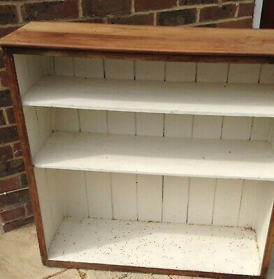Old Pine Rustic Bookcase shelves in  Solid Old Wood. Painted Inside