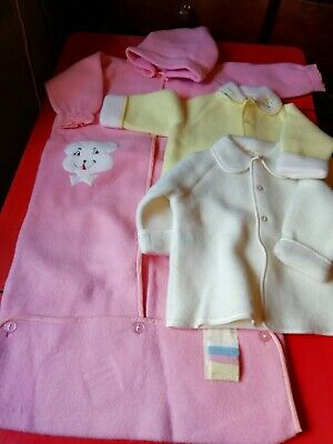 Job Lot Vintage Baby Wear Sleepsuits Jackets 3 Items Old Shop Stock Warm Fleecy