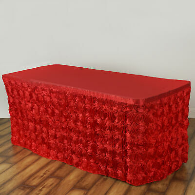 17' Red SATIN ROSES TABLE SKIRT Tradeshow Wedding Party Catering Supplies Dinner