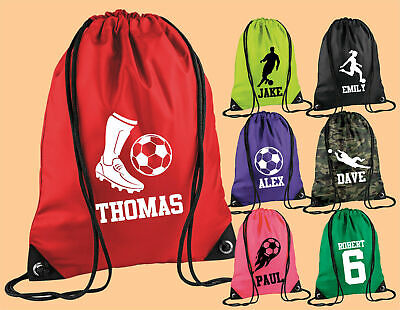 Personalised Football Boot Name Drawstring Bag PE Boys Kit Sport Backpack Kids