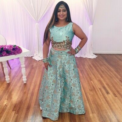 Teal Lengha - Indian Outfit