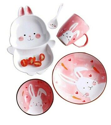 Porcelain Handmade Cute Cartoon Kids Dishes Set Kids dinnerware Set Cups Plates