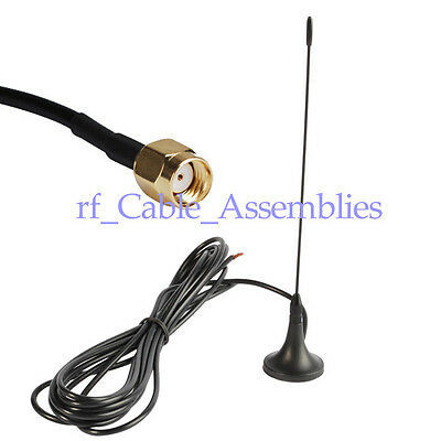 Antenna 433Mhz,3dbi RP SMA Male straight 500cm with Magnetic base for Ham radio