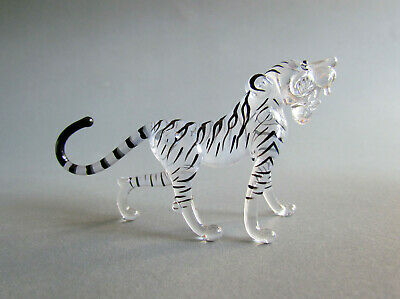 Tiger Hand Blown Glass Figurines Tiger Statue Sculptures Figures Decor Black
