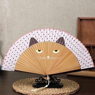 Summer Cute Cat Lace Bamboo Hand Painted Cartoon Cat Folding Fan Party Favor lin