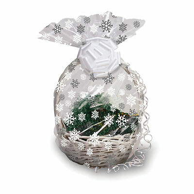 Christmas Snowflakes Hamper Wrap cellophane Basket Gift Wrap Large Cello Bag