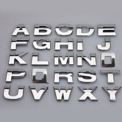 "1"" 25mm Chrome 3D Self-Adhesive Car Letter Number Badge Emblem Sticker Home Auto"