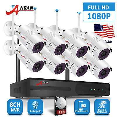 1080P Security Camera System Wireless Outdoor HD 8CH NVR Kit 1TB Hard Drive Home