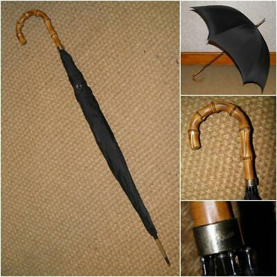 Antique Gents 18Ct GP. Umbrella With Wangy Bamboo Crook Handle. By Hoyland's.