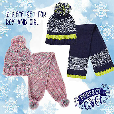 Kids Childs Pink Girls Navy Blue Boys Scarf and Hat Set Knitted Knit 2-13 Years