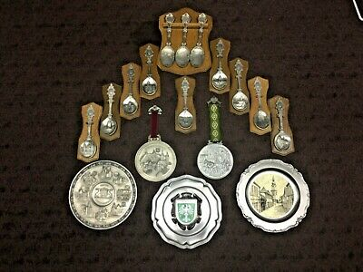 Vintage German Pewter Collection of Variety Makers Spoons, Plates & Medallions