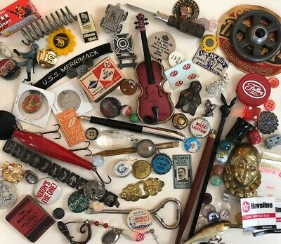 Vintage Junk Drawer 90p LOT Coin Military Advertising Fishin Automotive Jewelry