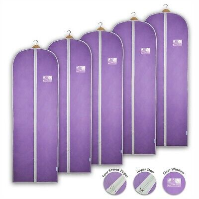 Lilac Garment Bags Dress Covers Clothes Gown Breathable Storage Travel Carriers