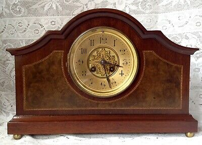 Rare Jules Rolez Limited Paris, French Mahogany Mantel Clock With Pendulum
