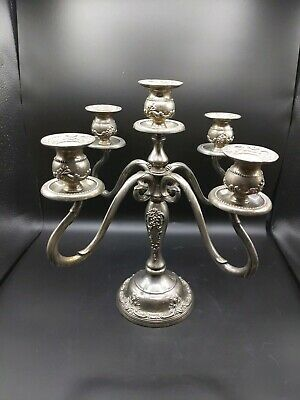 "Godinger Silver Art Company Silver Plated Candelabra for 5 candles 13 .5 "" Tall"