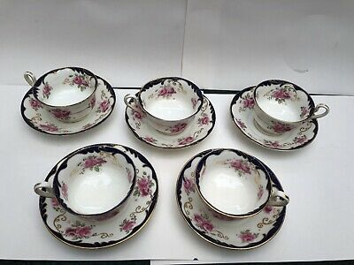 6 OLD VINTAGE BONE CHINA PORCELAIN HAND PAINTED CUPs AND SAUCERs