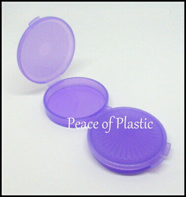 Tupperware New Set 2 Mini Clamshell Pill Keeper Round Pocket Container~ Purple
