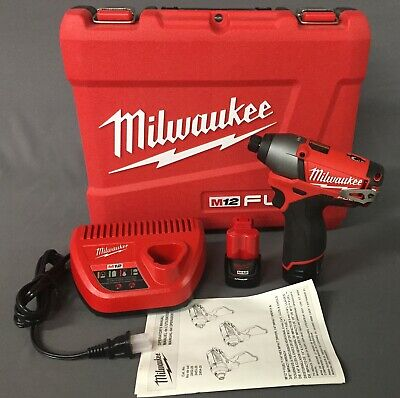 "NEW Milwaukee M12 Fuel 12-Volt Brushless 1/4"" Hex Impact Driver Kit 2453-22"