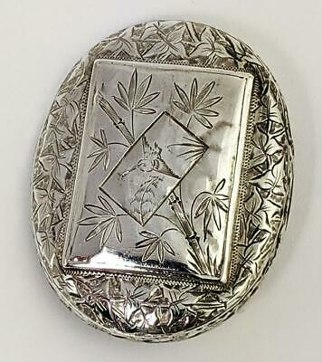 AESTHETIC MOVEMENT VICTORIAN SILVER BROOCH c1880