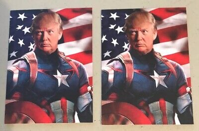 2 President Donald Trump Captain America Custom ACEO Trading cards.