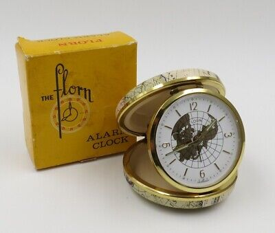 Vintage Florn Travel Alarm Clock World Map pattern made in Germany Free ship