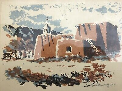 New Mexico Artist Foster Hyatt 1908-1995 Wood Block Adobe