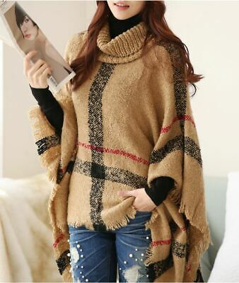 Women's Turtle Neck Knitted Soft Tassel Plaid Poncho Pullover Sweater