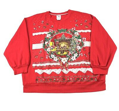 Womens 2X Vintage 90s Christmas Crewneck Sweatshirt Candy Canes Cats Fireplace