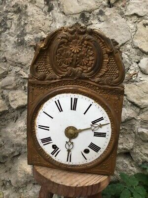Antique french comtoise Morbier clock 19th Copper Face Wag On Wall Grandfather