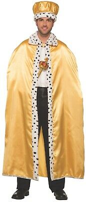 GOLD ADULT ROYAL CAPE King Queen Prince Wizard Fur Trim Magician Costume Prop