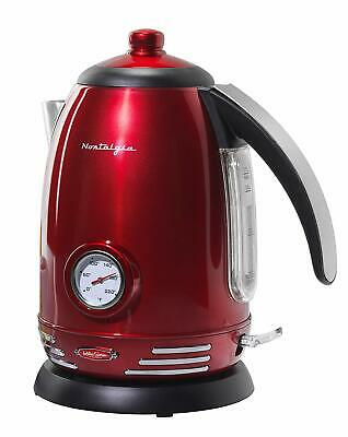 Nostalgia RWK150 Retro 1.7-Liter Stainless Steel Electric Water Kettle with S...