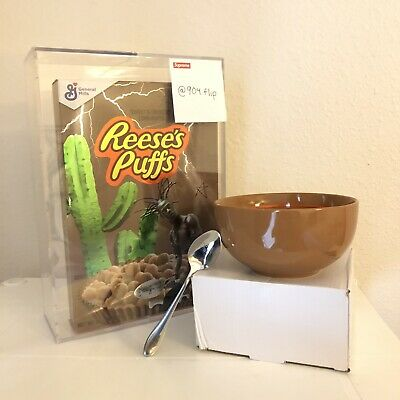 TRAVIS SCOTT REESES PUFFS Full Set Cereal Box, Bowl & Spoon IN HAND