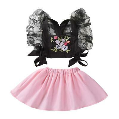 2pcs Kids Baby Girls Lace Embroidery Bandage Tops+Solid Dress Clothes Set #gib