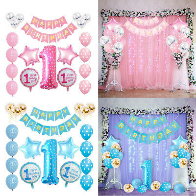 Celebrations Occasions 34pcs Set First 1st Birthday Number 1 Baby Boy Girl Balloons Party Decoration Uk Home Furniture Diy Mhg Co Ke