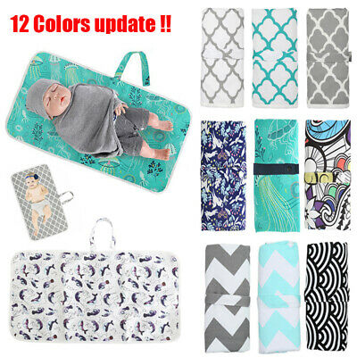 UK Newborn Baby Portable Foldable Washable Travel Nappy Diaper Play Changing Mat