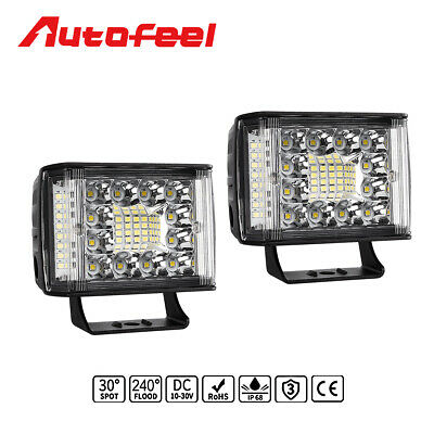2X 4inch Side Shooter LED Light Bar Work Pods Quad Row Spot Flood Combo Offroad