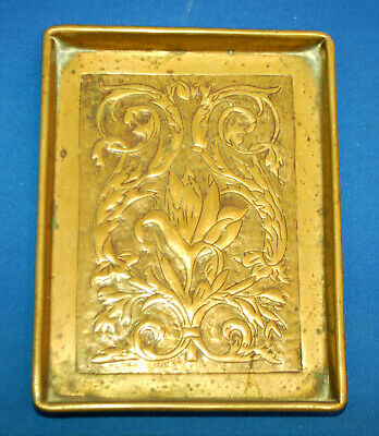 A Art Nouveau style brass floral pin tray dish, engraved, lily, iris